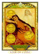 Four of Coins Tarot card in Lovers Path deck
