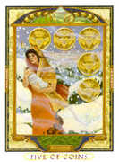 Five of Coins Tarot card in Lovers Path deck