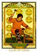 Eight of Coins Tarot card in Lovers Path Tarot deck