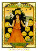 Nine of Coins Tarot card in Lovers Path Tarot deck
