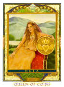 Queen of Coins Tarot card in Lovers Path Tarot deck