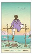 Three of Wands Tarot card in Luna Sol deck