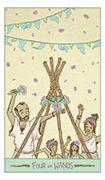 Four of Wands Tarot card in Luna Sol deck