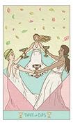 Three of Cups Tarot card in Luna Sol deck