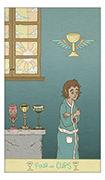 Four of Cups Tarot card in Luna Sol deck