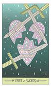 Three of Swords Tarot card in Luna Sol deck