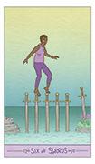 Six of Swords Tarot card in Luna Sol deck