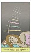 Nine of Swords Tarot card in Luna Sol deck