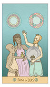 Three of Disks Tarot card in Luna Sol deck