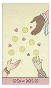 Six of Disks Tarot card in Luna Sol deck