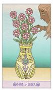 Nine of Disks Tarot card in Luna Sol deck