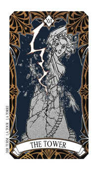 The Falling Tower Tarot Card - Magic Manga Tarot Deck