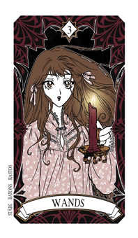 Three of Batons Tarot Card - Magic Manga Tarot Deck