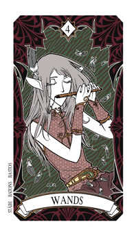 Four of Pipes Tarot Card - Magic Manga Tarot Deck