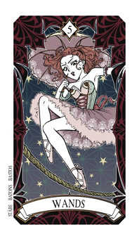 Five of Rods Tarot Card - Magic Manga Tarot Deck