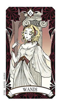Six of Sceptres Tarot Card - Magic Manga Tarot Deck