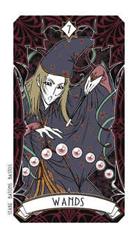 Seven of Rods Tarot Card - Magic Manga Tarot Deck