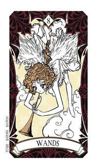 Eight of Batons Tarot Card - Magic Manga Tarot Deck