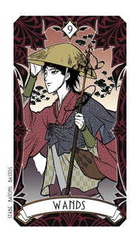 Nine of Staves Tarot Card - Magic Manga Tarot Deck