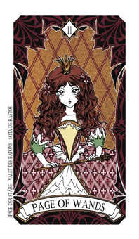 Page of Rods Tarot Card - Magic Manga Tarot Deck