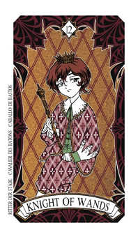 Knight of Rods Tarot Card - Magic Manga Tarot Deck