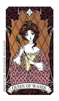 Queen of Rods Tarot Card - Magic Manga Tarot Deck