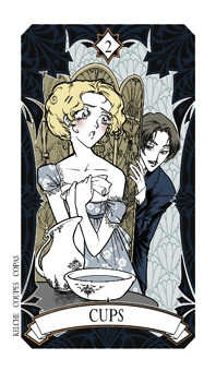 Two of Bowls Tarot Card - Magic Manga Tarot Deck