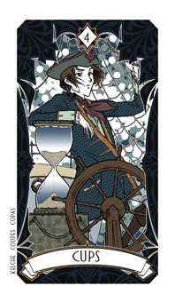 Four of Cauldrons Tarot Card - Magic Manga Tarot Deck