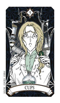 Five of Cauldrons Tarot Card - Magic Manga Tarot Deck