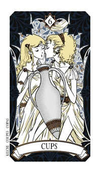 Six of Hearts Tarot Card - Magic Manga Tarot Deck