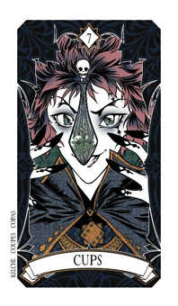 Seven of Cauldrons Tarot Card - Magic Manga Tarot Deck