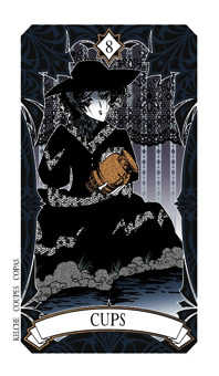 Eight of Bowls Tarot Card - Magic Manga Tarot Deck