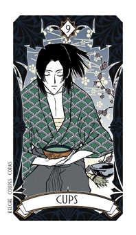 Nine of Bowls Tarot Card - Magic Manga Tarot Deck