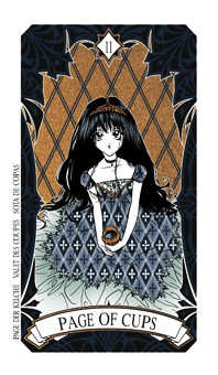 Page of Hearts Tarot Card - Magic Manga Tarot Deck