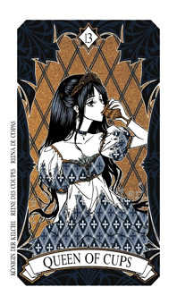 Queen of Bowls Tarot Card - Magic Manga Tarot Deck