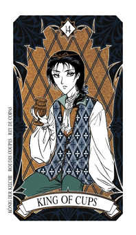 King of Water Tarot Card - Magic Manga Tarot Deck