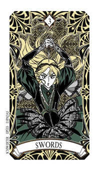 Three of Spades Tarot Card - Magic Manga Tarot Deck