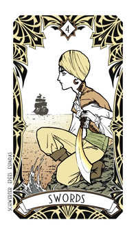 Four of Arrows Tarot Card - Magic Manga Tarot Deck