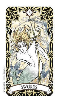 Five of Spades Tarot Card - Magic Manga Tarot Deck
