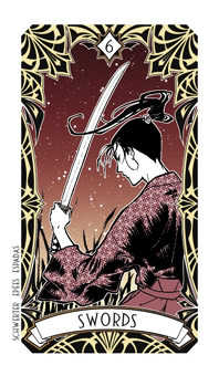 Six of Swords Tarot Card - Magic Manga Tarot Deck