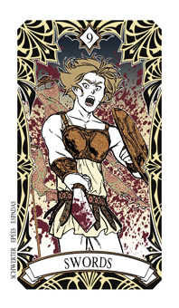 Nine of Arrows Tarot Card - Magic Manga Tarot Deck