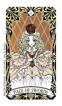 Page of Spades Tarot Card - Magic Manga Tarot Deck