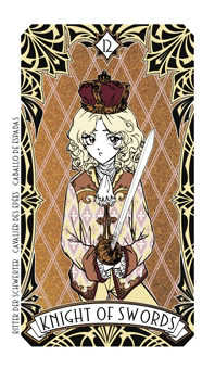 Knight of Spades Tarot Card - Magic Manga Tarot Deck