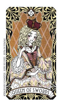 Queen of Swords Tarot Card - Magic Manga Tarot Deck