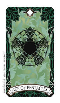 Ace of Pentacles Tarot Card - Magic Manga Tarot Deck