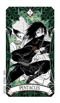 Two of Discs Tarot Card - Magic Manga Tarot Deck