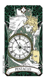 Three of Coins Tarot Card - Magic Manga Tarot Deck
