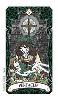 Five of Stones Tarot Card - Magic Manga Tarot Deck