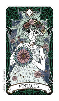 Nine of Coins Tarot Card - Magic Manga Tarot Deck