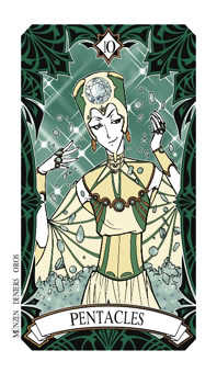 Ten of Pentacles Tarot Card - Magic Manga Tarot Deck